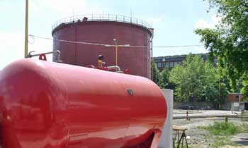 FoamFatale storage tank fire extinguishment system we have built - Újpest Power Plant