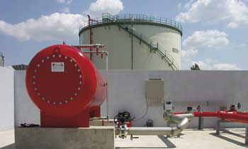 FoamFatale storage tank fire extinguishment system we have built - Kispest Power Plant